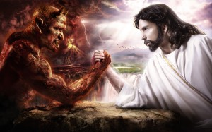 Jesus wrestles with satan