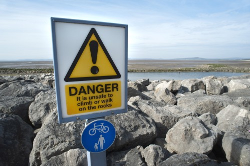 danger sign coastal defences