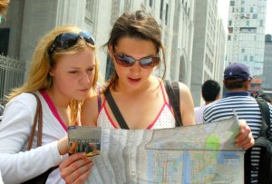 tourists seeking direction