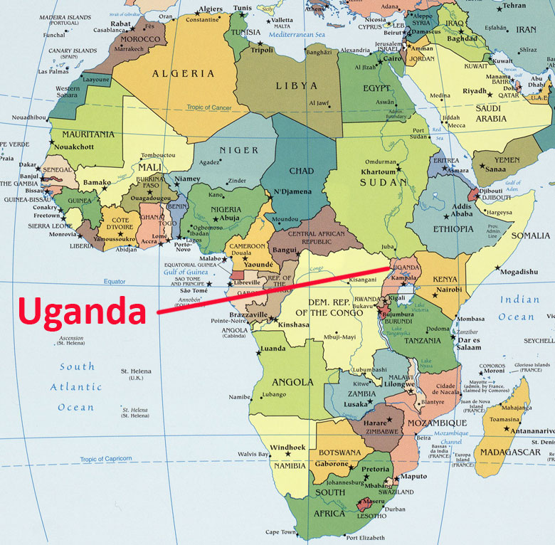 My trip to uganda breaking away jeff blocks blog uganda map sciox Gallery
